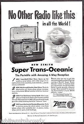 1951 ZENITH Super Trans-Oceanic Portable Radio Vintage AD Advertising