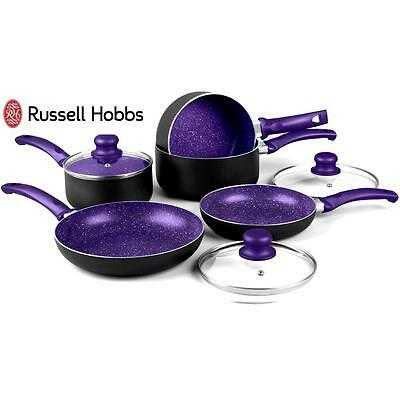 Russell Hobbs 8 Pc Purple Non Stick Induction Stone Pan Set Saucepan Frying Pan