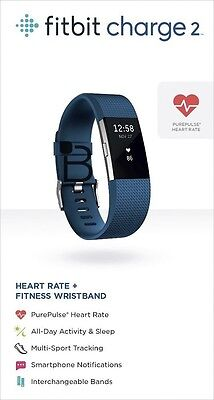 NEW Fitbit Charge 2 Heart Rate + Fitness Wristband - Large Blue