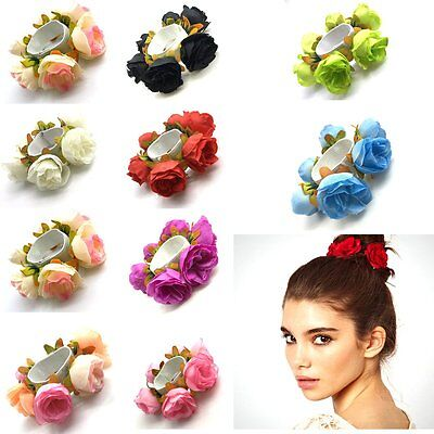 Fashion Women Girl Rose Flower Hair Band Rope Elastic Ponytail Holder Scrunchie