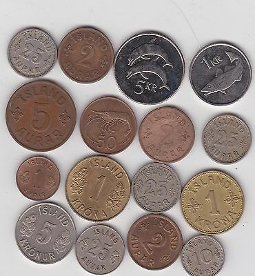 16 Coins From Iceland Dated 1923 To 2008 In Very Fine To Near Mint Condition