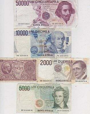 Nine Different Old Banknotes From Italy In A Used Good Fine Condition