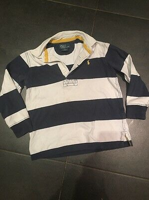 Polo Ralph Lauren Boys 4 Years Navy White Stripe Rugby Shirt Top Jumper