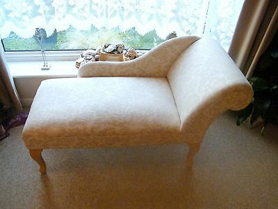 Shabby Chic Beige Floral Chaise Longue with Queen Anne Wood Legs