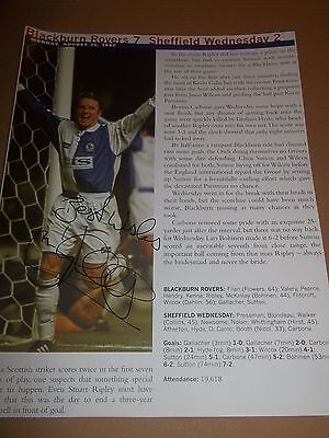 Kevin Gallacher ~ Original Autograph On Game Report From 1997