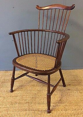 Antique Spindle Chair Armchair Canework Seat Victorian Edwardian Old Kitchen VGC