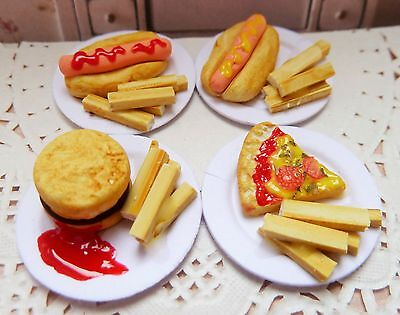 Dolls House Miniatures Food 12Th Scale Fast Food For Four *handmade* (S3)