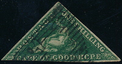 CAPE OF GOOD HOPE 1858, RR 1/ USED, scott 6a DARK GREEN, Wmk ANCHOR #A2071