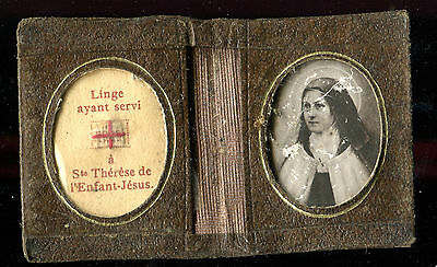 Antique Relic Leather Pocket St Therese With Relic