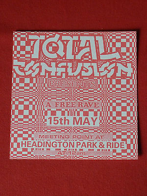 Total Confusion rave flyer / flyers - Free party / illegal rave Oxford 1993 MINT