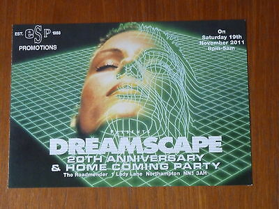 Dreamscape 20th Anniversary rave flyer / flyers - Mint condition