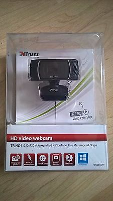 Trust Trino HD Video Webcam with built-in microphone for PC, Laptop - Black