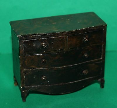Vintage Dolls House Triang Queen Anne Period Furniture Chest Of Drawers 1930's