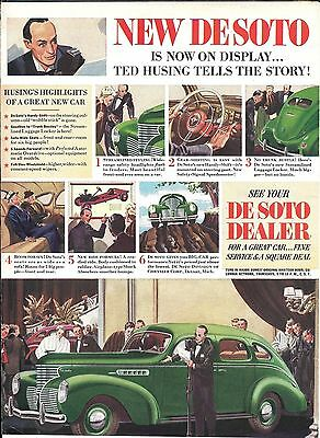 1938 De Soto Car Now On Disply Ted Husing Ad