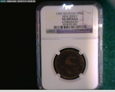 1787 New Jersey Cooper No Plow Spring NGC certified ( # 67-133 )