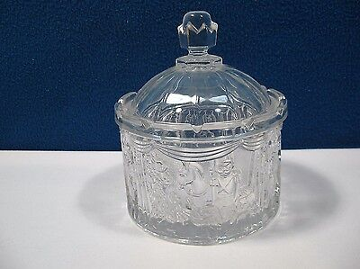 Nutcracker Scene Glass Candy Nut Covered Dish Clear Crown Lid