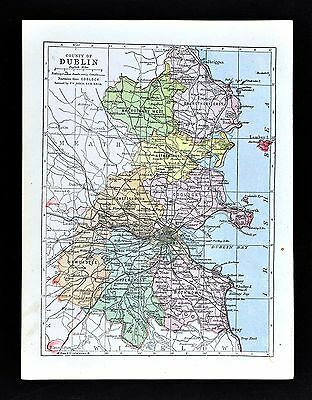 1900 Ireland Map - Dublin County - Kingstown Bray Howth Swords Skerries Lucan