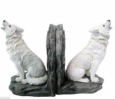 Winter Wolf Bookends ~ Wolf Figurine Book Ends ~ Wolves ~