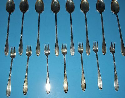 15 pieces New England Silver Plate Rosemary Pattern 7 Seafood Forks 8 Tea Spoons