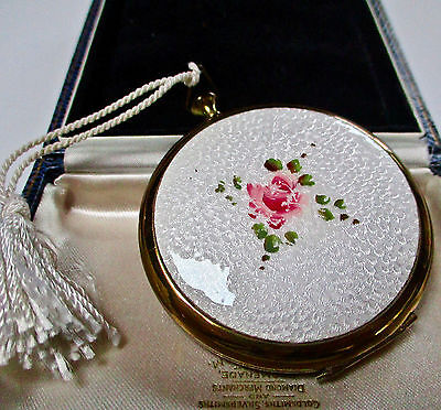 Vintage Jewellery Guilloche Enamel Rose Powder Compact