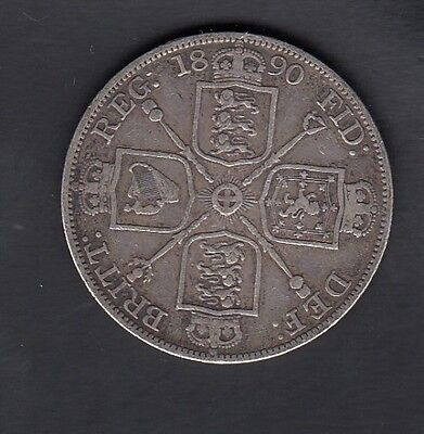 1890 Great Britain Double Florin Silver Coin