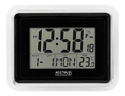 Acctim Delta Precision Radio Controlled LCD Wall Desk Alarm Clock Calendar Black