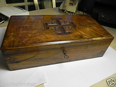 Exceptional Genuine Antique Olive Wood With Jerusalem Decoration Cross Box
