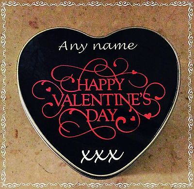 Personalised HAPPY VALENTINES Day Heart Shaped Metal Gift Tin/Box Any name
