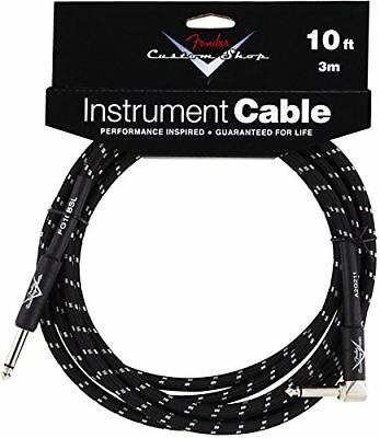 Fender Custom Shop BLACK TWEED Guitar Cable, Straight to Right-Angle, 10' ft