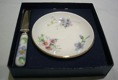Crown Staffordshire Pretty Floral butter dish and knife boxed