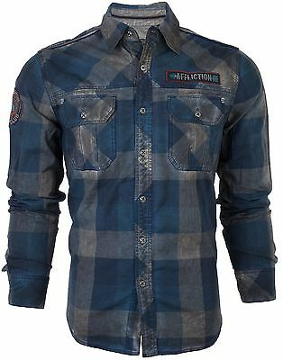 AFFLICTION Mens Embroidered Button Down Shirt VOODOO RIVER Biker UFC Roar $88