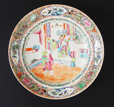 Large Antique 19th Century Chinese Famille Rose Porcelain Shallow Bowl