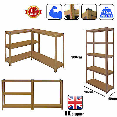 5 Tier Heavy Duty Boltless Metal Shelving Shelves Storage Unit Garage Home Brown