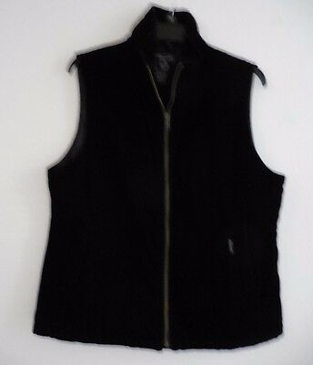 Faconnable Black Velvet Vest Quilted Lining L Preowned