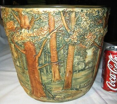 Antique Weller Forest Tree Woodcraft American Art Pottery Planter Jardinere Vase