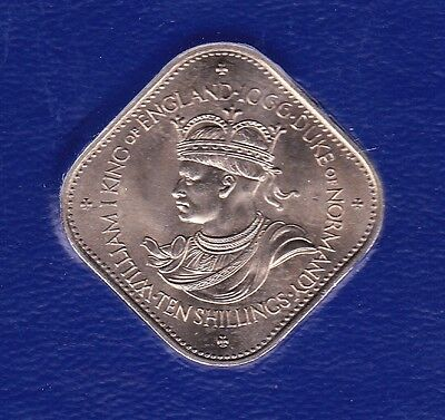 "1966 Guernsey ""william I"" 10 Shillings Coin - Square Coin"