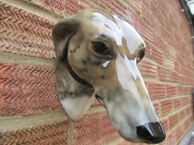 Vintage Elite Pottery Greyhound Wall Plaque Lovely Brindle Colourway