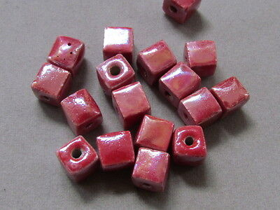 20 Red Cube AB Finish 8x8mm Porcelain Beads(G180A12)