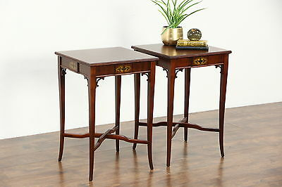 Pair Traditional 1940's Vintage Mahogany End Tables or Nightstands