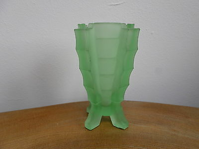 Vintage Art Deco Stepped Geometric Green Frosted Glass Vase