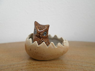 VINTAGE ART POTTERY MINIATURE 'OWL IN AN EGG' FIGURINE the hatchling!