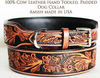 100% Cow Leather Western Tooled Amish Made in USA Puppy Canine Dog Collar 6022
