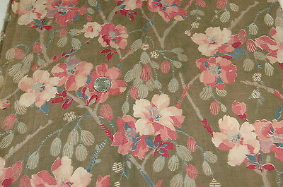 Antique Floral Design Cotton French Print in France 19th C