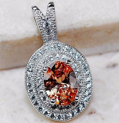 2CT Padparadscha Sapphire & White Topaz 925 Solid Sterling Silver Pendant