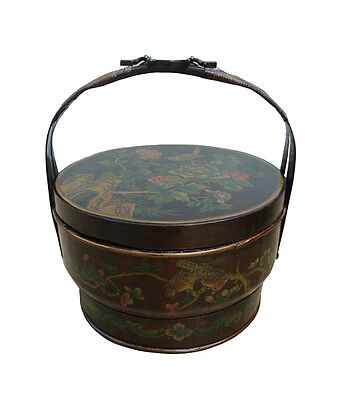 Redone Chinese Bamboo Round Flower Wedding Basket Flowers Birds Painting fs821