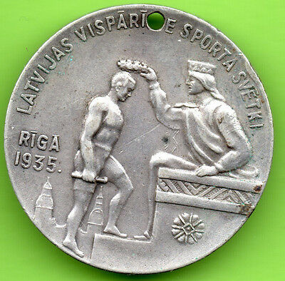 Latvia Lettland The first general sports festival in Riga 1935s Silver Medal 948