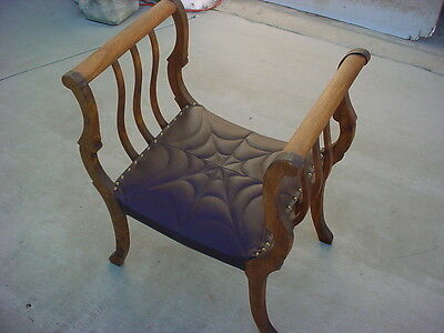 Leather Padded Antique Chair Love Seat Spider Web Design Dungeon Castle Look Wow