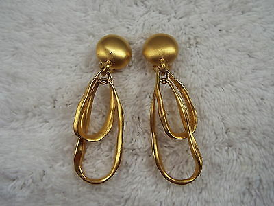 Long Matte Goldtone Oval Rings Clip-on Earrings (A72)