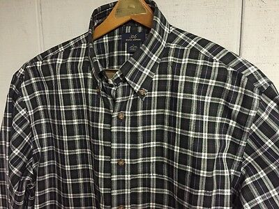 BROOKS BROTHERS l/s Black Plaid Dress Shirt size Mens Large Cotton IMMACULATE