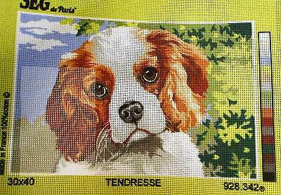 BROWN AND WHITE SPANIEL (TENDRESSE) - Tapestry Canvas (New) by SEG DE PARIS